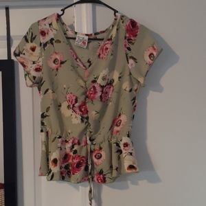 Floral Shirt with tie in middle